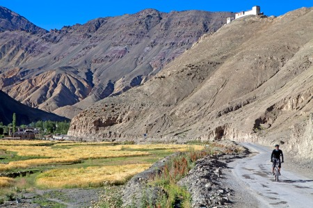 Cycling through typical Ladakhi landscape on the approach to the Indus Valley