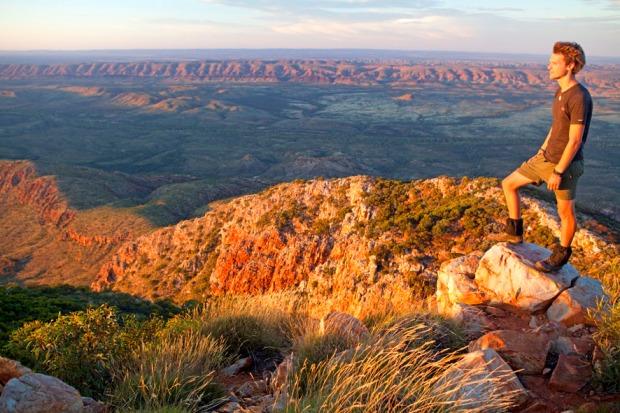 Bushwalker on the summit of Mount Sonder