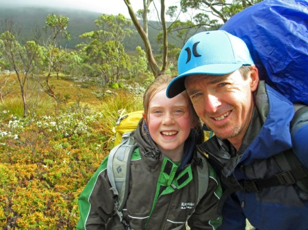 Andrew Bain with daughter Kiri on the Overland Track